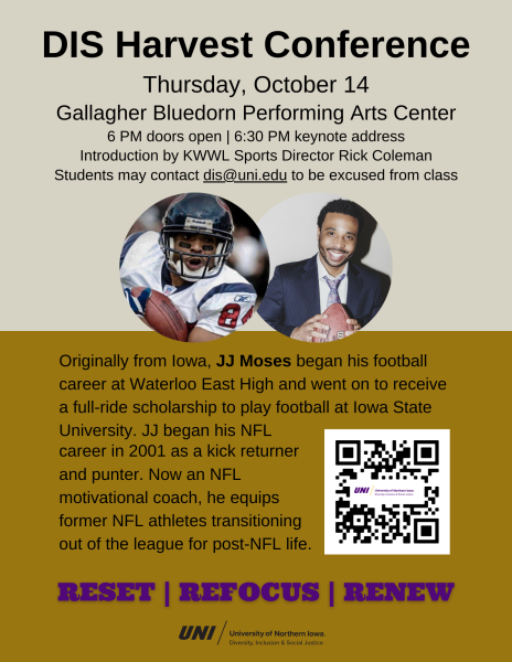 Flyer for guest speaker NFL player JJ Moses of Waterloo, Iowa at the DIS Harvest Conference