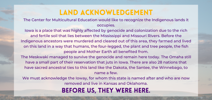Purple text on prairie background showing CME's land acknowledgement